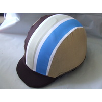 Ecotak Lycra Helmet Cover - Brown & gold stripes