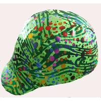 Ecotak Lycra Helmet Cover - Green with metallic lines & dots