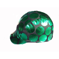 Ecotak Lycra Helmet Cover - Black metallic green dots