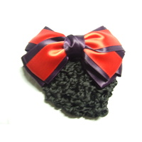 Ecotak Bow Hair Clip with hair net/snood - plum & red