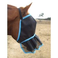 Ecotak Fly Mask/veil with Nose Skirt/frill - Aqua Trim