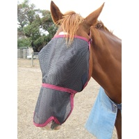 Ecotak Fly Mask/Veil with Contoured Nose Flap - Burgundy