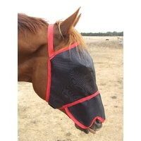 Ecotak fly mask/veil with contoured nose flap - red