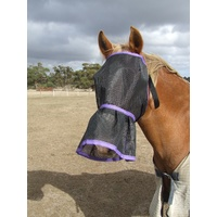 Ecotak Fly Mask/Veil with nose skirt/frill - purple trim