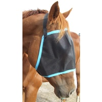 Ecotak Black Fly Mask/Veil with aqua trim