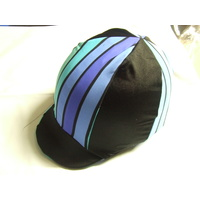 Ecotak Lycra Helmet Cover - Black & blue stripes