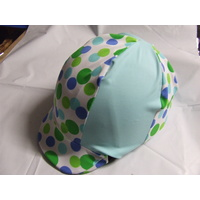 Ecotak Lycra Helmet Covers - Pale blue & green polka dots