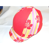 Ecotak Lycra Helmet Cover - Red Hibiscus flowers