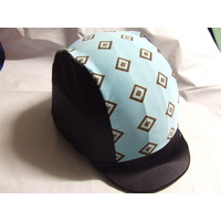 Ecotak Lycra Helmet Cover - Black & Pale Blue pattern