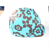 Lycra Helmet Cover no peak pocket - Blue with chocolate flowers