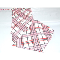 Ecotak Lycra Rugless Tie in Tail Bag - White pink black check shetland
