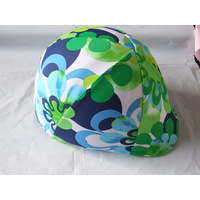 Lycra helmet cover no peak pocket - blue green flower