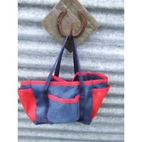 Ecotak PVC Shade Mesh Grooming Bag - Navy & Red
