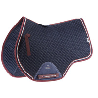 Premier Equine European cotton jump square saddle pad navy/burgundy
