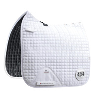 Premier Equine close contact cotton dressage competition saddle pad white with numbers