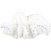 Harry's Horse White Suede Hair Elastic with Crystals