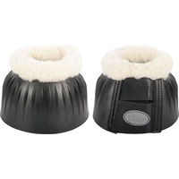 Harrys Horse Rubber Over reach bell boots with fleece - Black