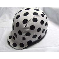 Ecotak Lycra Horse Helmet Cover - white with black polka dots