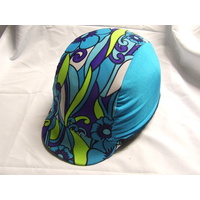 Ecotak Lycra Horse Helmet Cover - blue & purple patterned