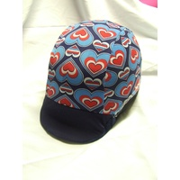 Ecotak Lycra Helmet Cover - blue & red hearts