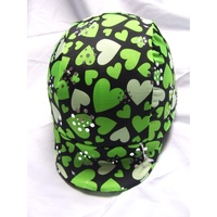 Ecotak Lycra Helmet Cover - black & green hearts