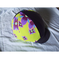 Ecotak Lycra Helmet Cover - plum & lime with purple flowers