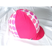 Ecotak Lycra Helmet Cover - pink & white with polka dots