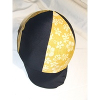 Ecotak Lycra Helmet Cover - black & yellow flowers