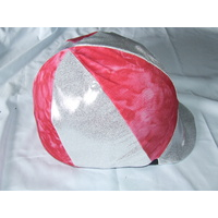 Ecotak Lycra Helmet Cover - pink and white with solver glitter