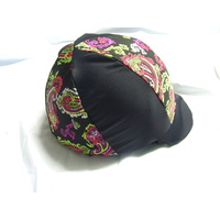 Ecotak Lycra Helmet Cover - Black and coloured paisley