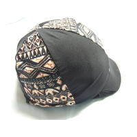 Ecotak Lycra Helmet Cover - Black & tan pattern