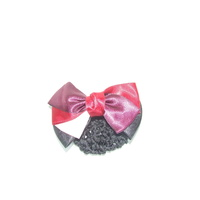 Ecotak Bow Hair Clip with hair net/snood - burgundy, red & pale pink