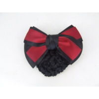 Ecotak Bow Hair Clip with hair net/snood - Black with red centre overlay