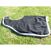 Ecotak Wool Cutaway Removable Quarter Sheet/exercise rug - Black with white & grey trim Large