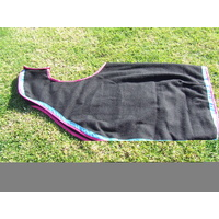 Ecotak Wool Cutaway Removable Quarter Sheet/exercise rug - Black with aqua & pink trim Large