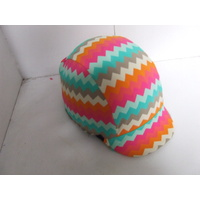 Ecotak Lycra Helmet Cover - colourful chevron pattern