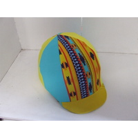 Ecotak Lycra Helmet Cover - yellow & blue aztec
