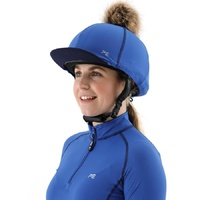 Premier Equine PEI Jersey Hat Silk with faux fur pom pom - royal/navy