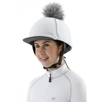 Premier Equine PEI Jersey Hat Silk with faux fur pom pom - white
