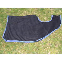 Ecotak polar fleece Cutaway Removable Quarter Sheet/exercise rug - Black with Royal Blue trim Medium