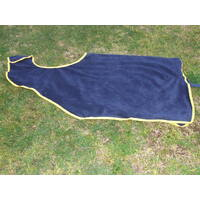 Ecotak polar fleece Cutaway Removable Quarter Sheet/exercise rug - Navy with yellow trim full