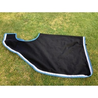 Ecotak Wool Cutaway Removable Quarter Sheet/exercise rug - Black with white & teal trim