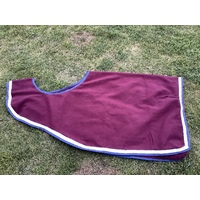 Ecotak Wool Cutaway Removable Quarter Sheet/exercise rug - burgundy with white & navy trim