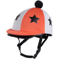 QHP Vegas Helmet Cover - Flame orange & white with stars