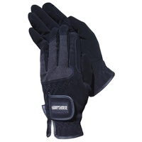 Harry's Horse Black Domy Suede Gloves with Mesh
