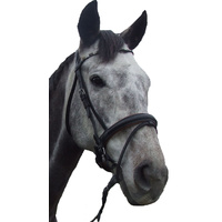 Ecotak Black Hanovarian Bridle with brown padding & U browband