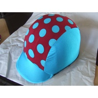 Ecotak lycra helmet cover - aqua and burgandy polka dots