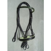 Ecotak Black bridle with green padding & diamontes