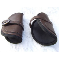 Ecotak brown leather open front HIND jumping boots