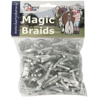 Harry's Horse Magic Braids Plaiting Elastic Bands - Silver REUSABLE